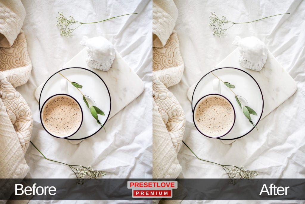 A soft and airy flat lay image of a coffee cup