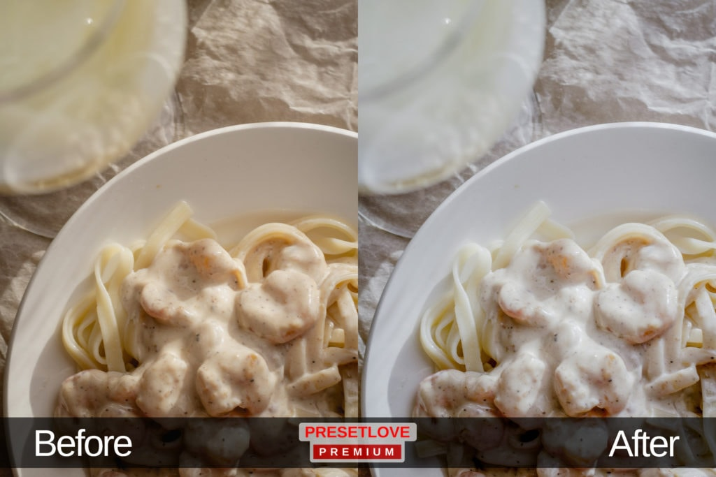 A photo of a pasta, with whites enhanced by the Soft Radiance Lightroom preset