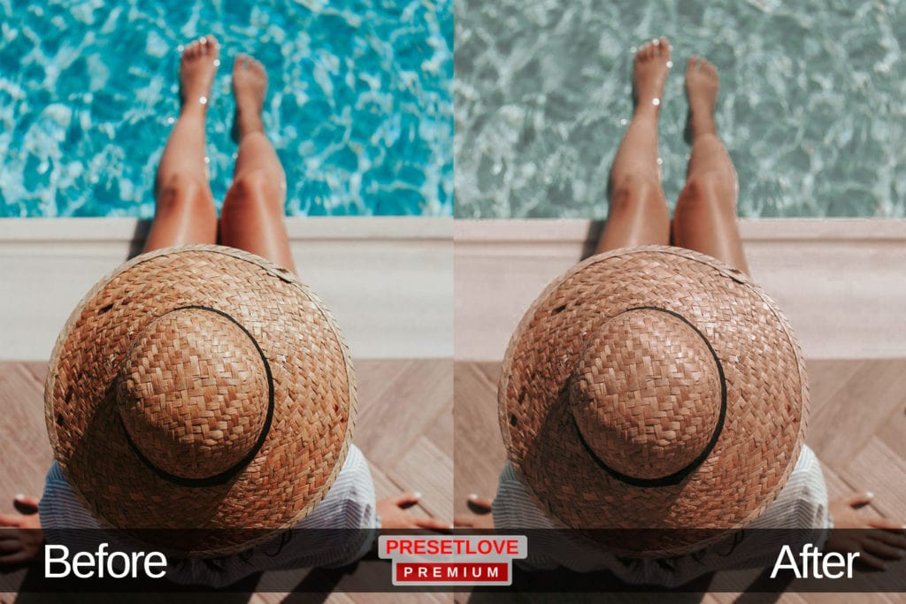 A top view photo of woman sitting by the pool wearing a hat