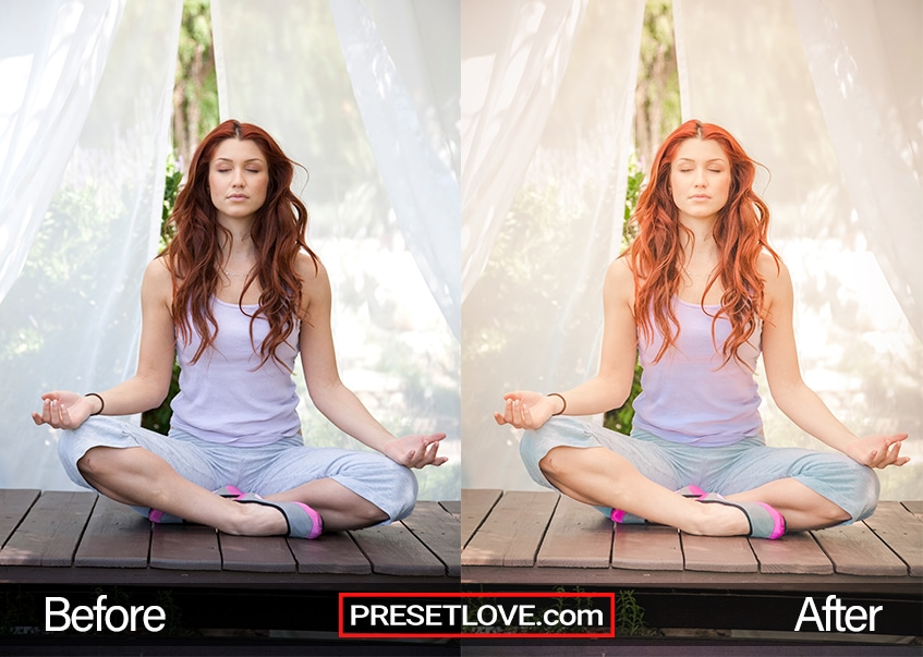 A brunette woman sitting cross-legged to meditate