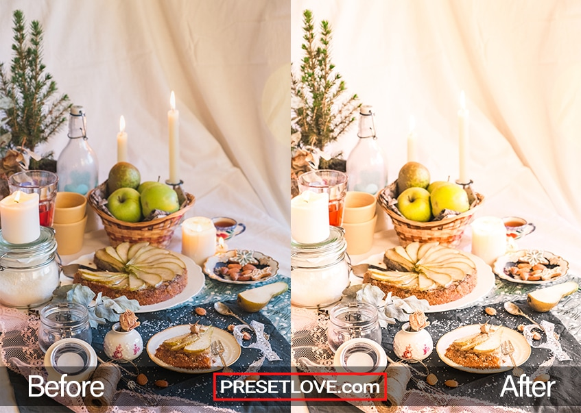 Photo of a table arrangement with a free warm food preset applied
