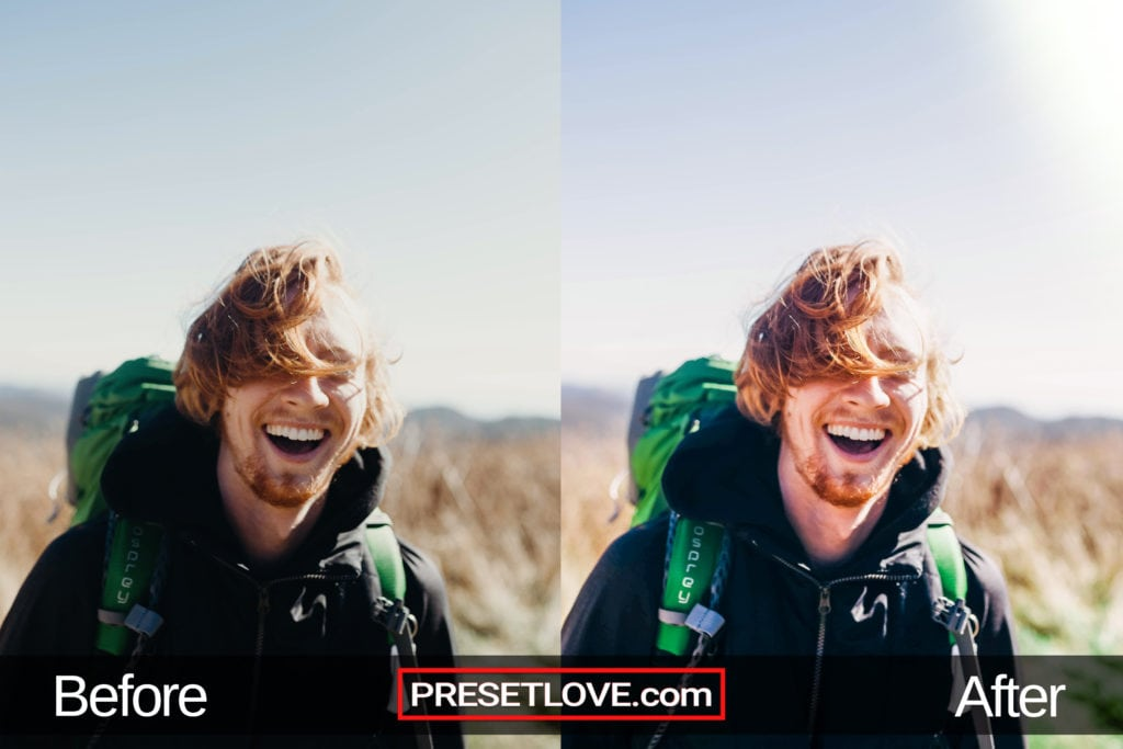 A vibrant and expressive outdoor portrait of a man laughing while hiking