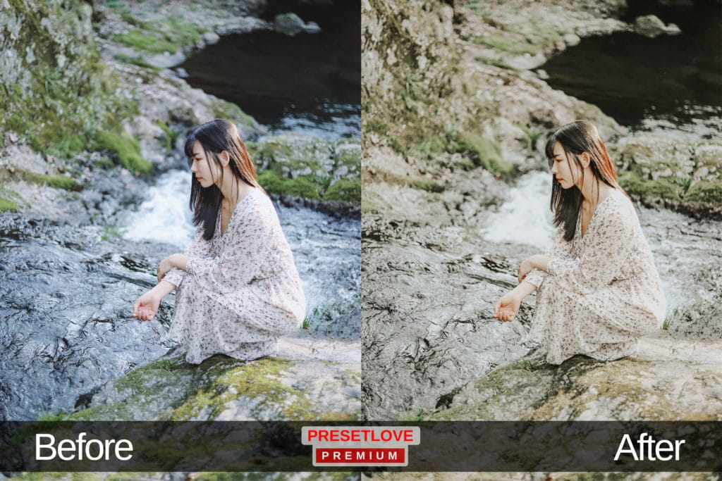A soft matte photo of a woman sitting on the rocks by a river