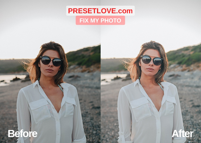 Fix the photo's harsh shadows using Fix my Photo Preset by Preset Love