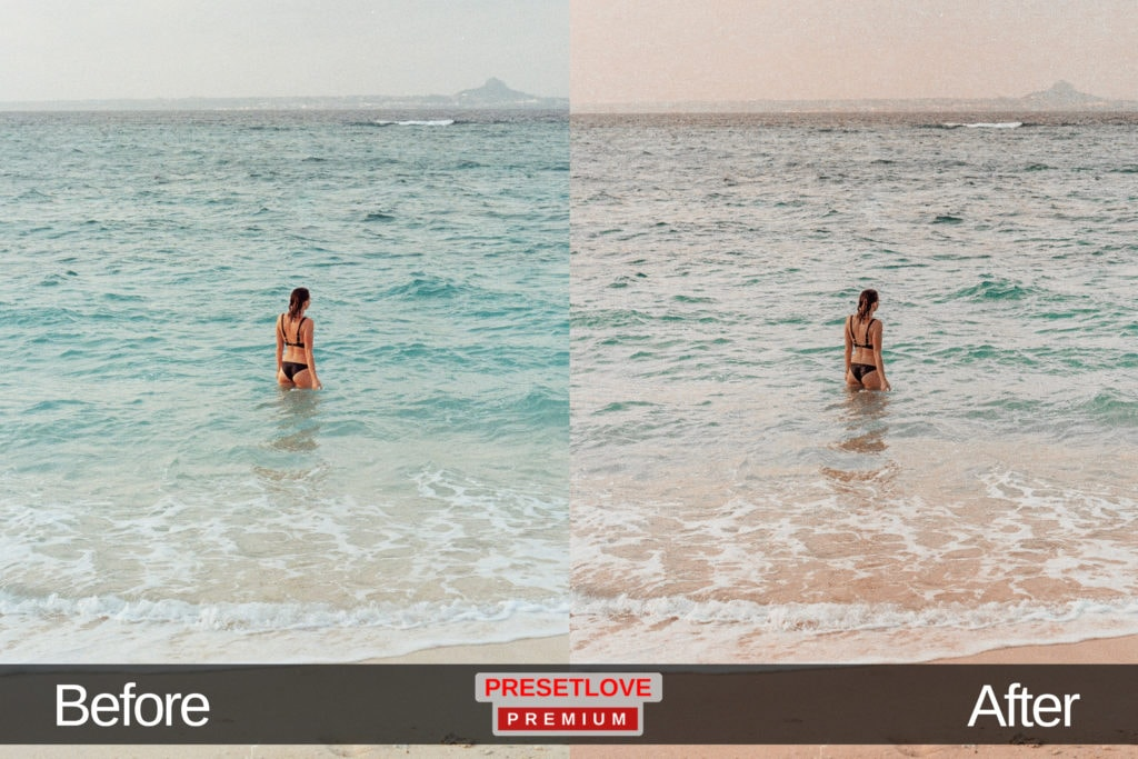An ocean and teal preset of a woman standing on the shore in a bikini