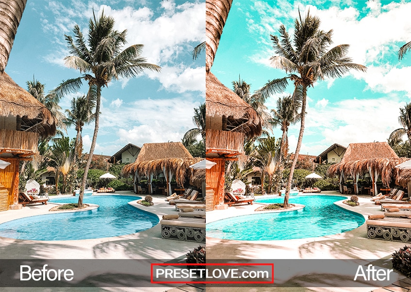 A vibrant orange and teal photo of a resort featuring a pool surrounded by huts and palm trees