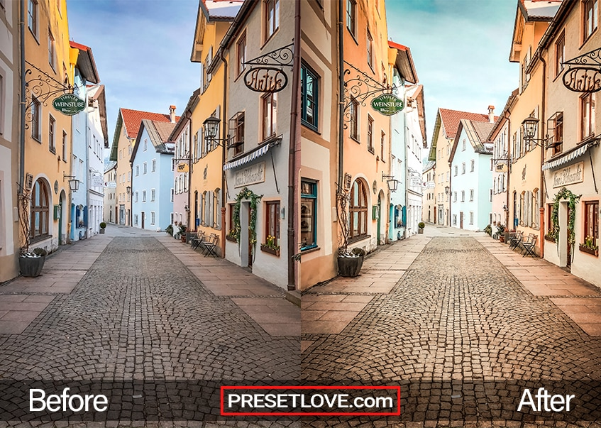 A vibrant and warm urban photo of a street with cobblestones