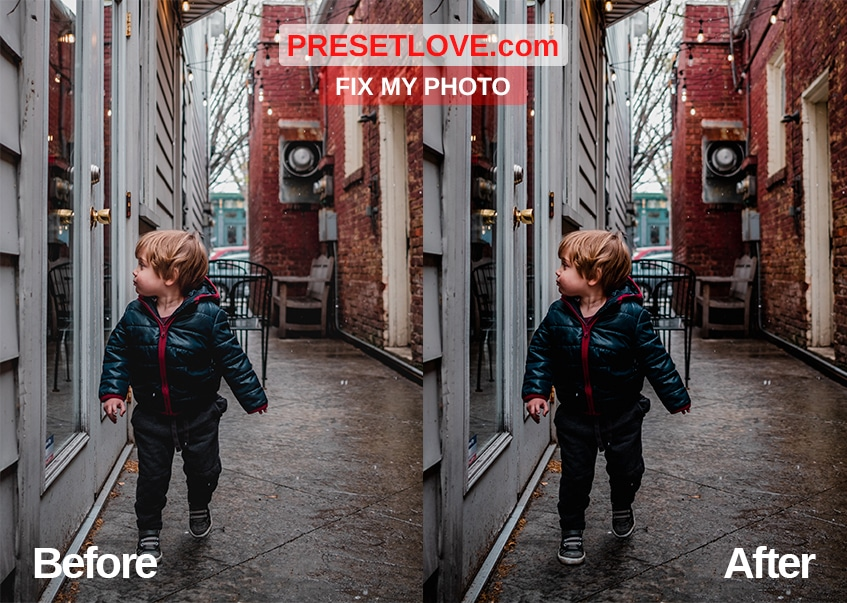 A clear and vivid photo of a toddler walking along an urban street