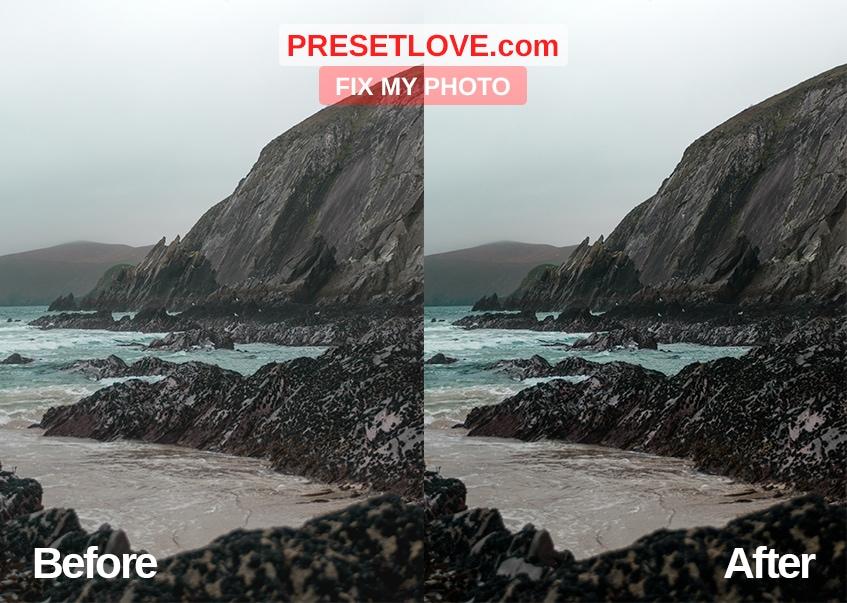 A clear and vivid photo of a coastal scene