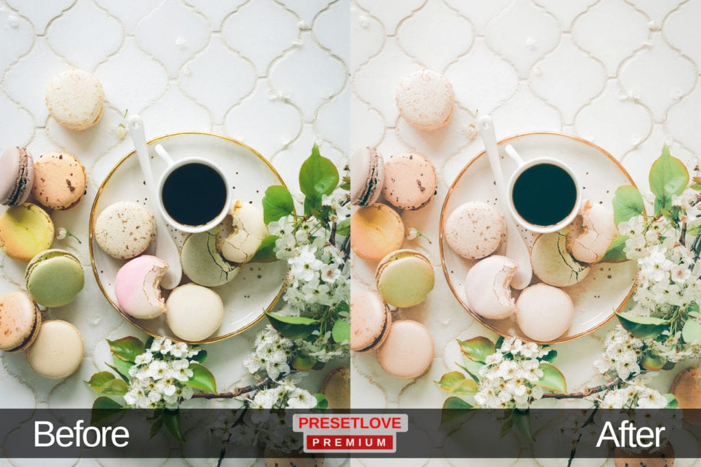 High Tea dessert Lightroom preset applied on a flat lay image of macarons around a coffee cup