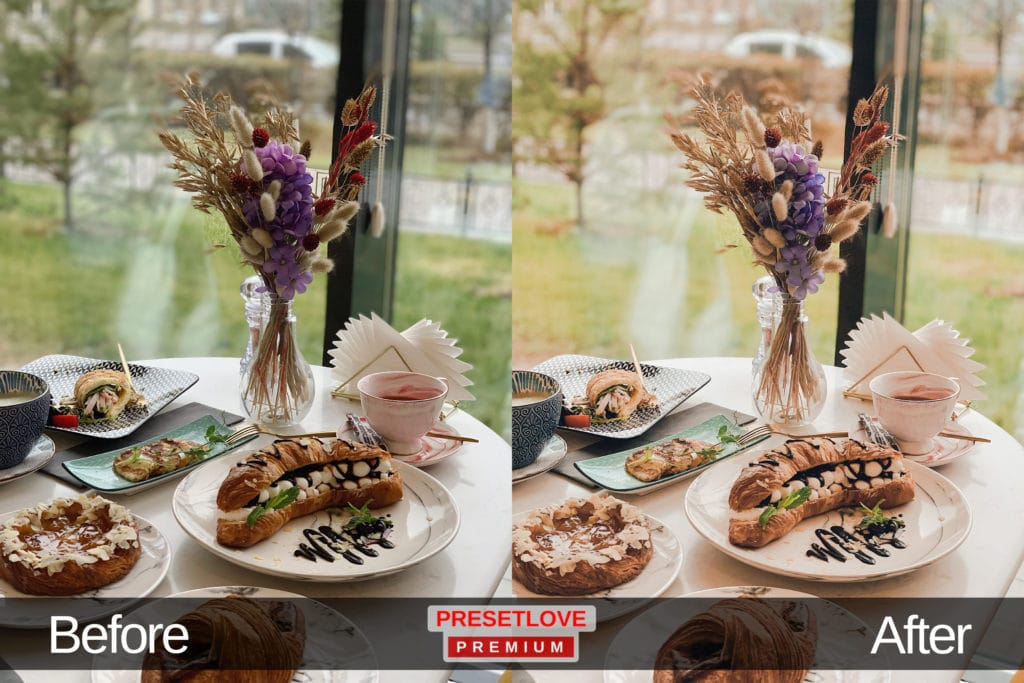 High Tea pastel food Lightroom preset applied on a photo of a table setting by the window