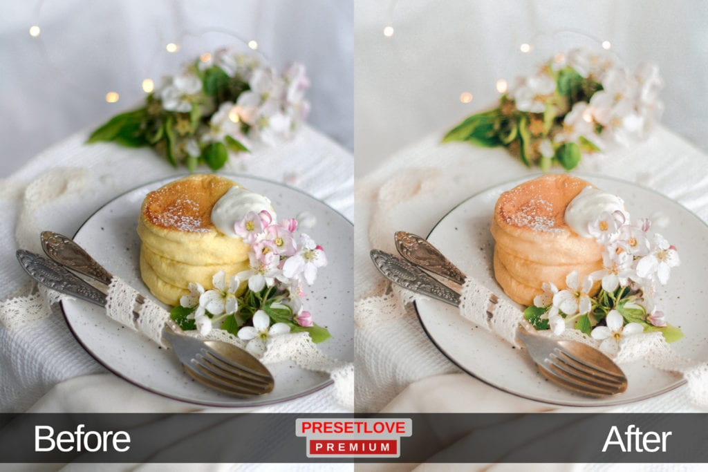 High Tea pastel food Lightroom preset applied on a photo of a dessert served with a whipped cream