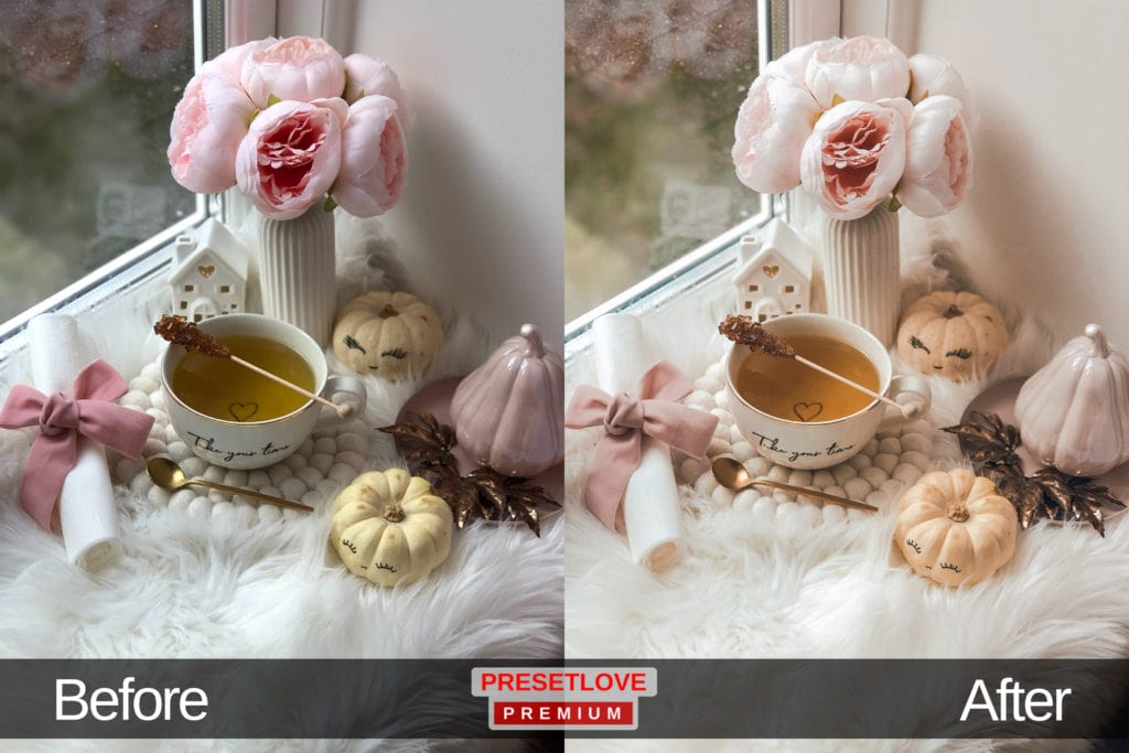 High Tea soft Lightroom preset applied on a photo of a tea cup and pink flowers by the window