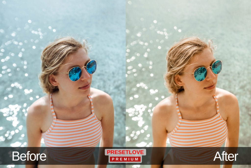 A photo portrait of a woman wearing sunglasses at a beach, with a summer Lightroom preset applied