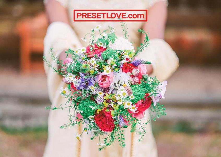 Photo of a wedding bouquet enhanced by Detail R1 free wedding Lightroom preset