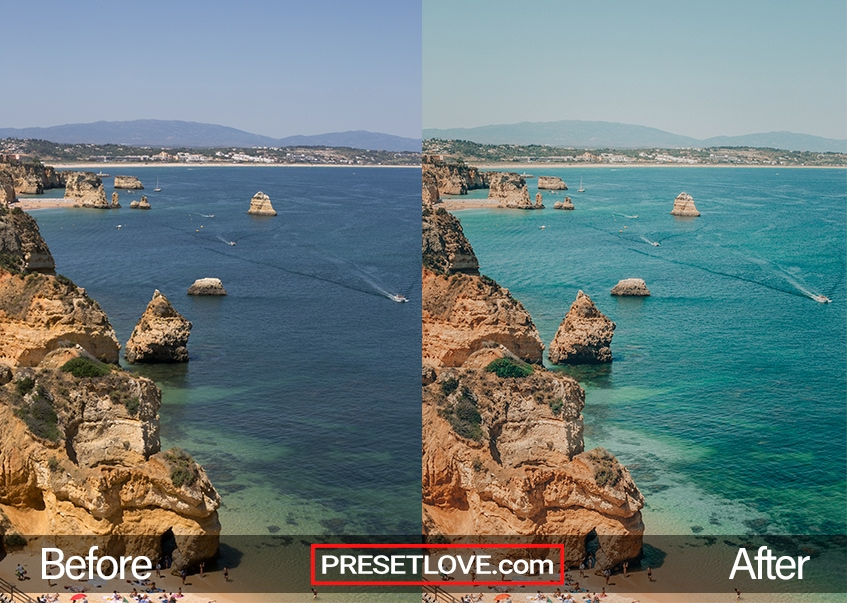 A light summer photo of a beach lined with rock formations, with Lagos summer preset applied