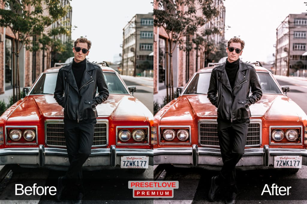 A bright and pastel photo of a man leaning against a red vintage car wearing a black jacket and sunglasses