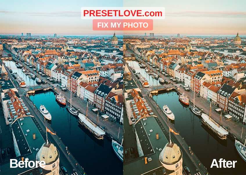 Fix the photo's color temperature using Fix my Photo Preset by Preset Love