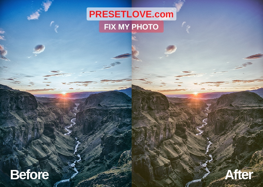 A photo of a stunning sunset in a mountain landscape, with a warm Lightroom preset applied