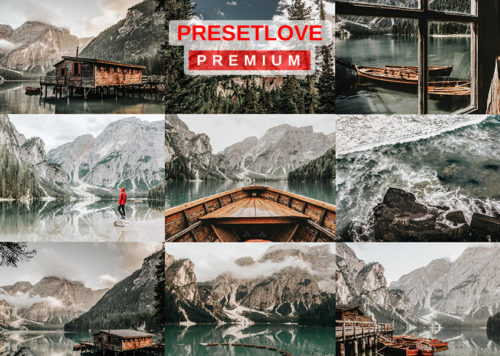 A photo collage of PresetLove's Arctic Silver bright landscape Lightroom preset