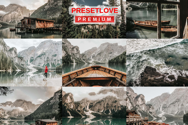 A photo collage of PresetLove's Arctic Silver bright landscape Lightroom preset