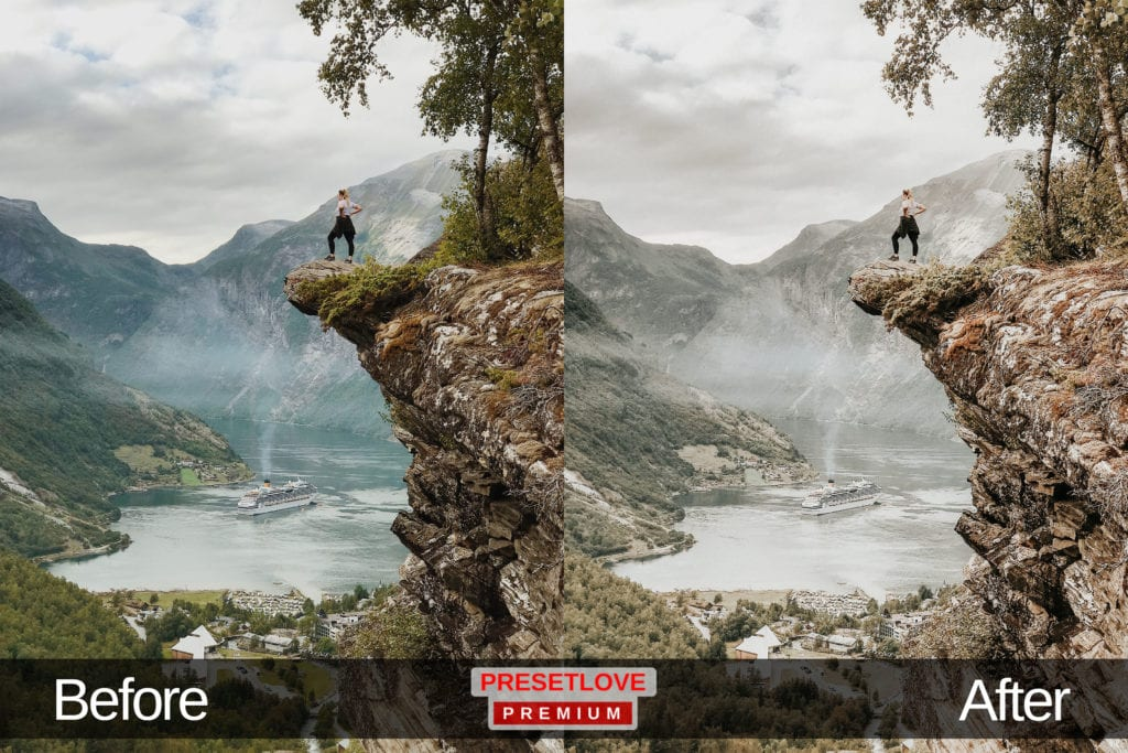 A bright photo of a person standing at the edge of a protruding cliff, with a landscape Lightroom preset applied