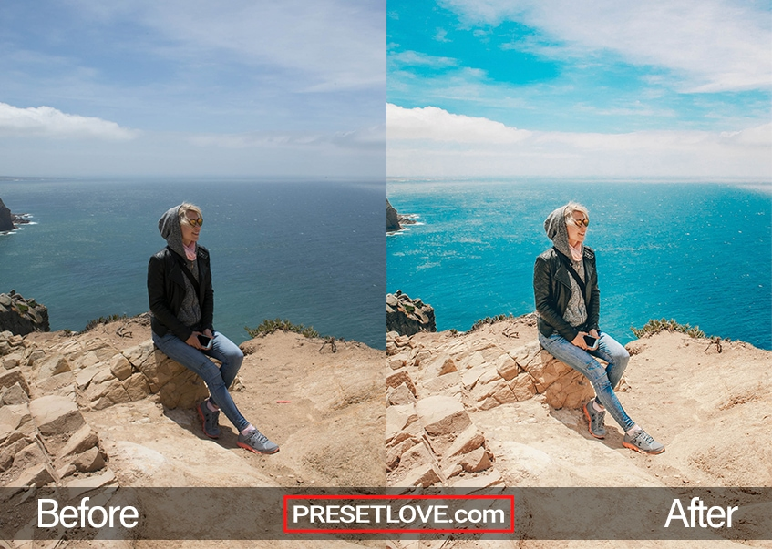 A photo of a woman sitting at the edge of a cliff, with a vibrant landscape preset applied