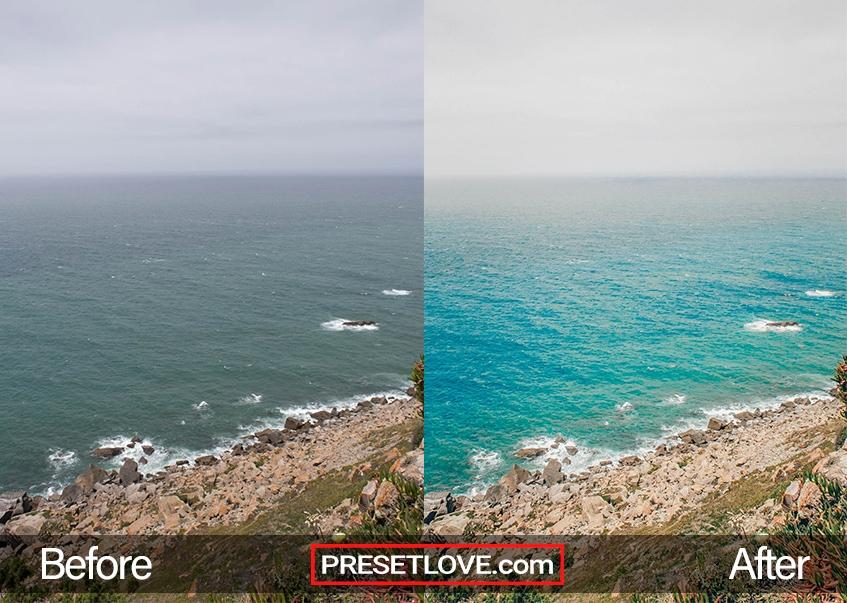 A vibrant photo of a calm coast and the sea in clear aqua