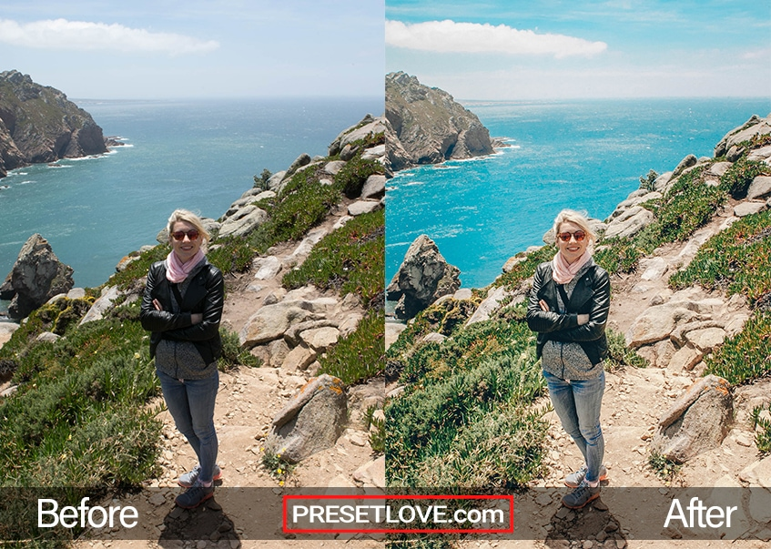 A photo of a woman with a scenic view of Cabo da Roca behind her