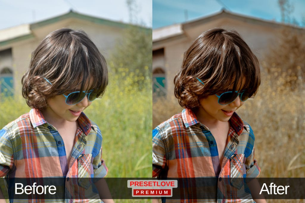 A cinematic portrait of a boy outdoors wearing sunglasses, with a cinematic Lightroom preset applied