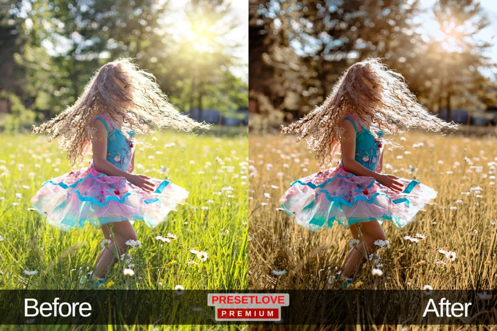 A magical photo of a girl playing in a field