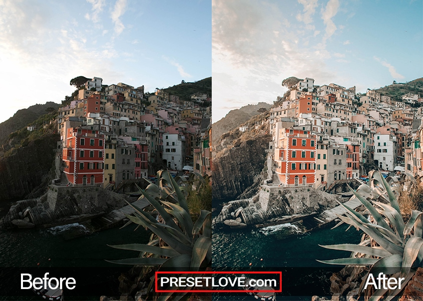 A warm and detailed photo of the Cinque Terre coast, with a travel preset applied