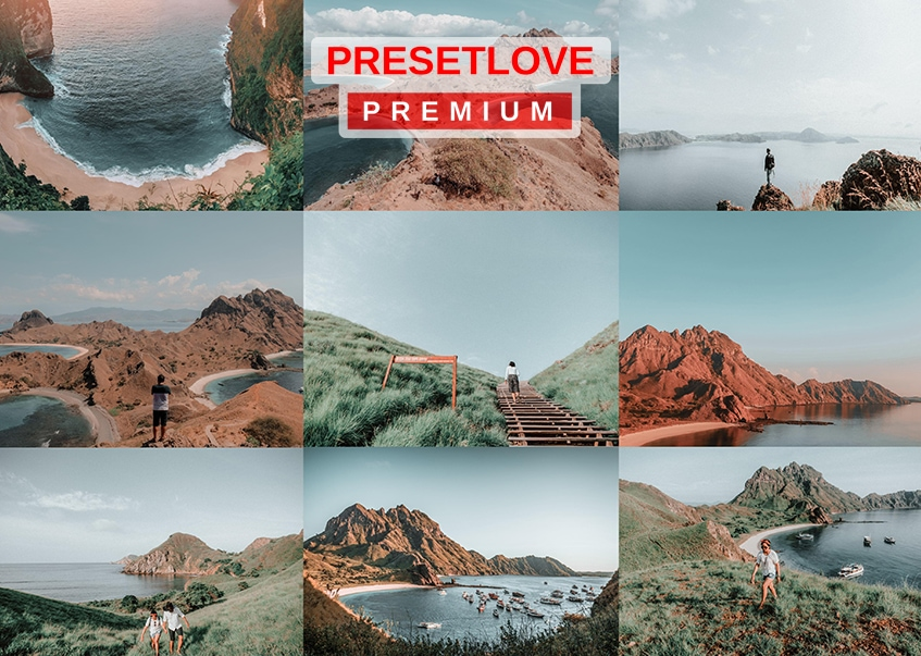 A collage of photos enhanced by the Coastal Breeze hiking and travel Lightroom preset by PresetLove