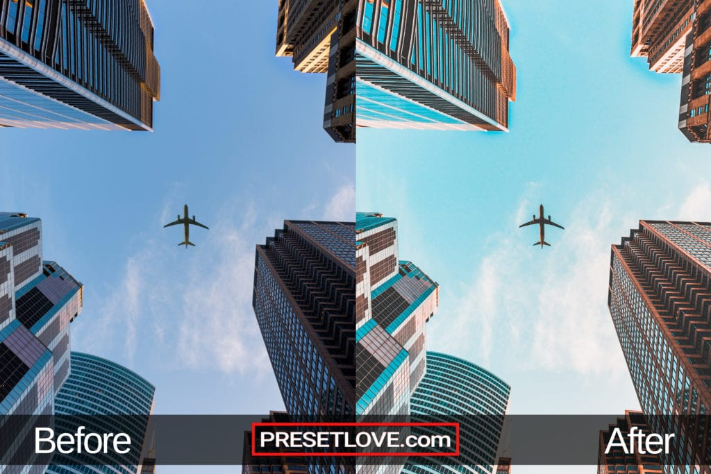 A bright orange and teal photo of a plane flying about a cityscape