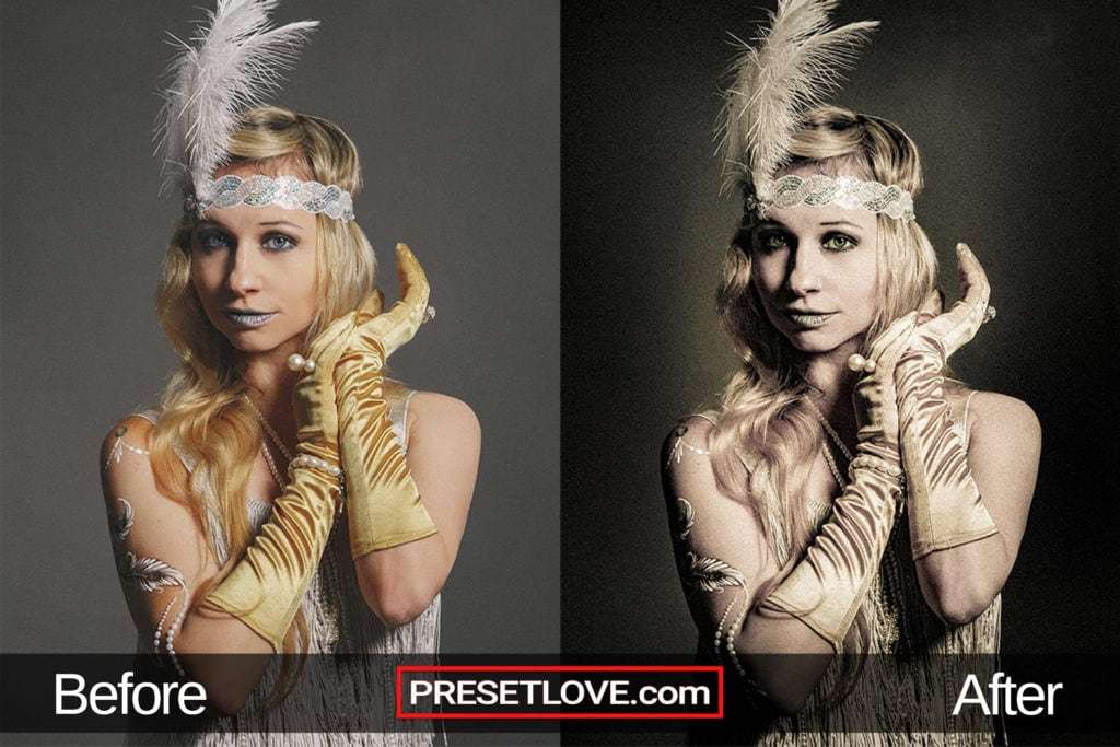 A classic photo of a woman wearing a feather headband