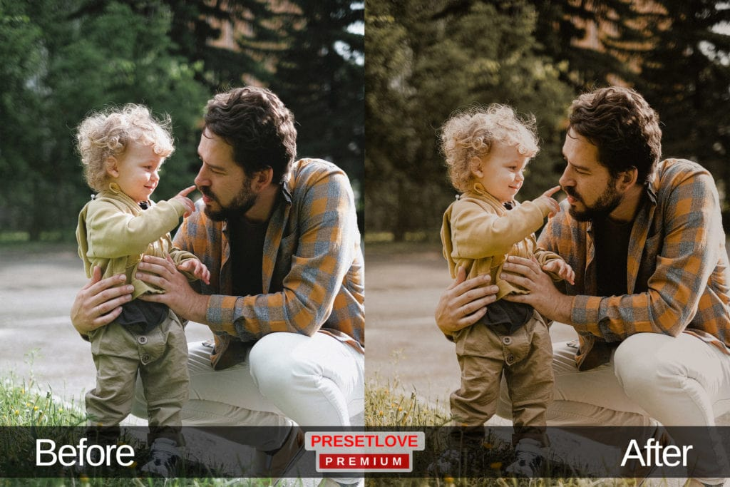 A photo of a father and child at a park, with a golden Lightroom preset applied