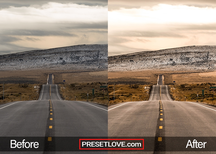 The Highway Trip Lightroom preset applied to an open highway photo