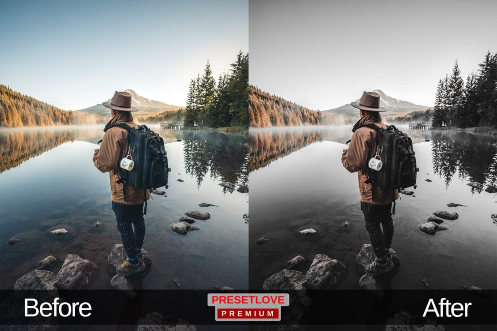 A photo of a hiker looking at a lake, with a dark landscape Lightroom preset applied