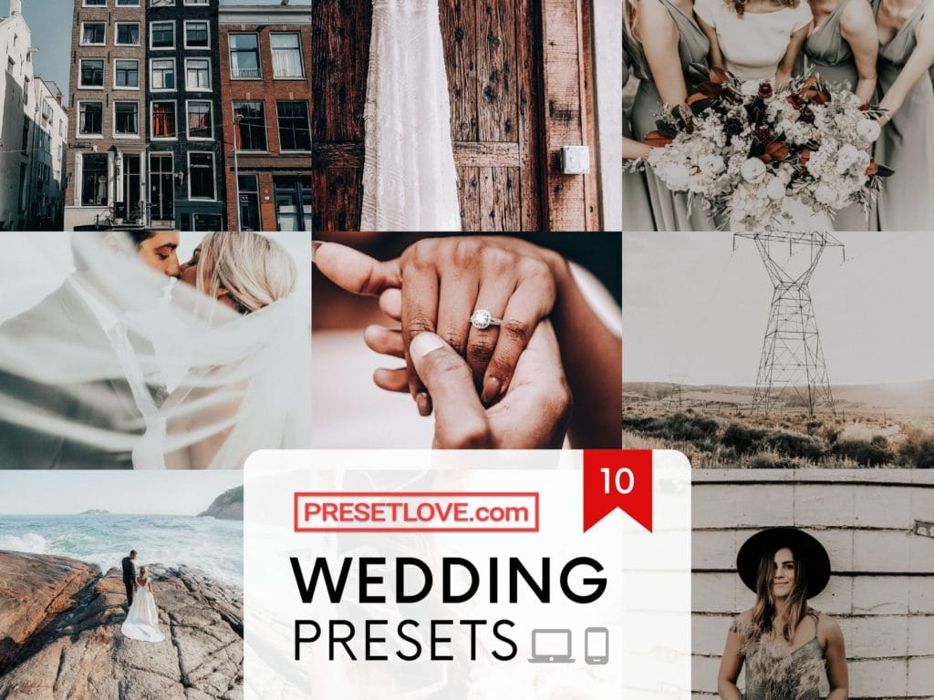 Premium wedding Lightroom presets by PresetLove for mobile and desktop