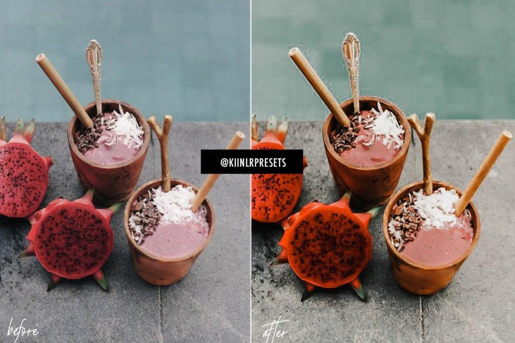 Tropical Bali KIIN presets applied on a photo of tropical fruit shakes